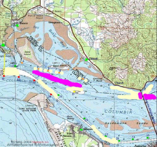 Lower columbia buoy 10 salmon fishery for Columbia river fishing map