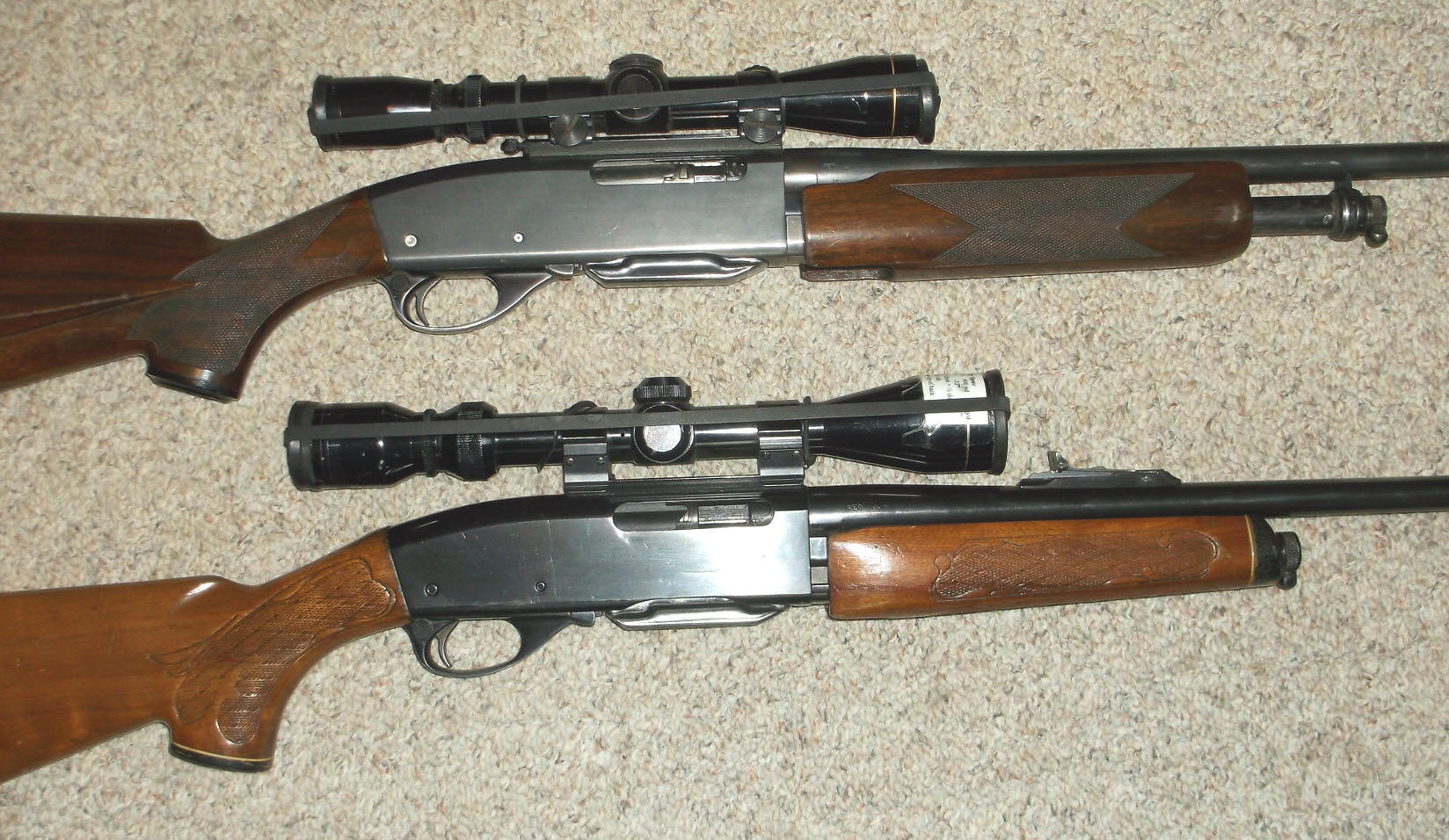 Remington 760 7600 pump rifle here on top showing the custom stocked older rifles old style forearm tube with the newer telescoping forearm style below the later pressed checkering sciox Choice Image
