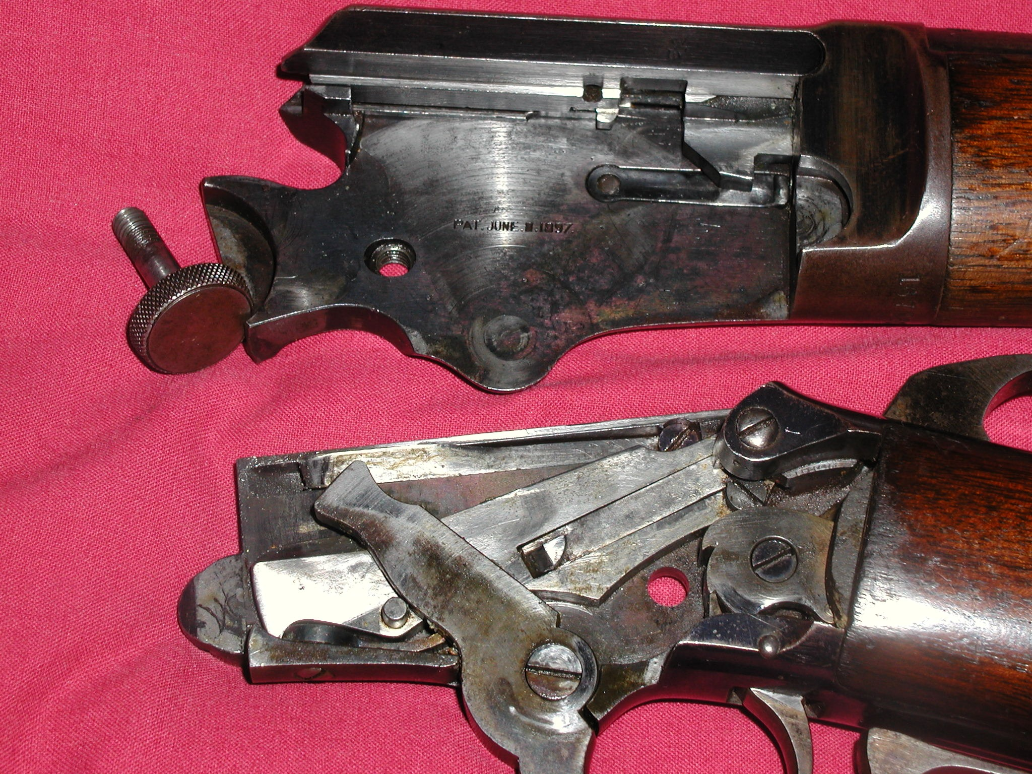 Marlin lever action rimfire rif model 1897 shown taken down with patent date visible pooptronica Images