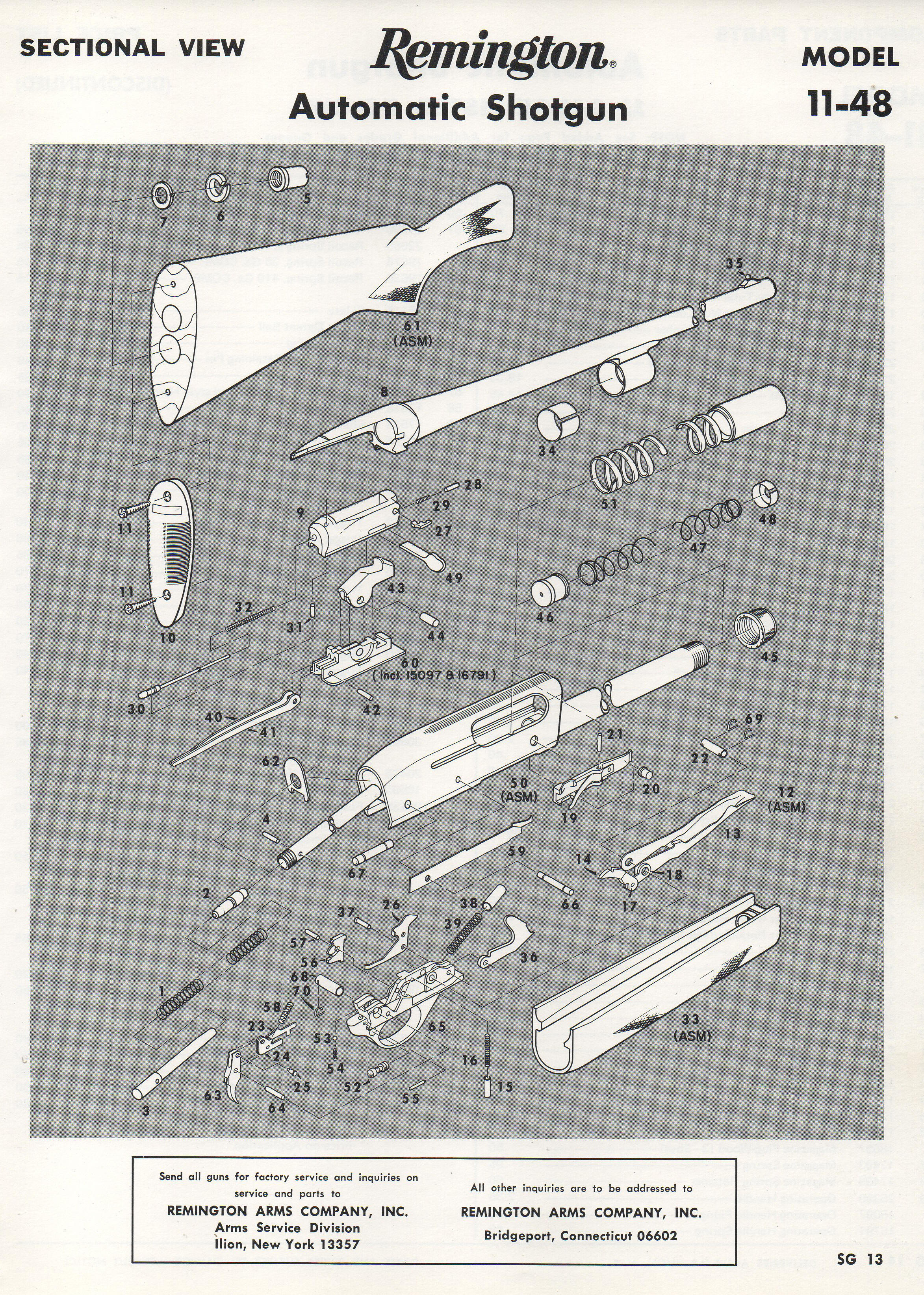 Remington 11 48 Semi Auto Shotgu Remington870partsdiagram The Butt Plate Rests Against Shooters Factory Exploded Views