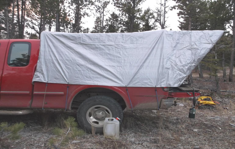 Here A Side View Of The Finished Camper In Use For Overnight Hunting Stay